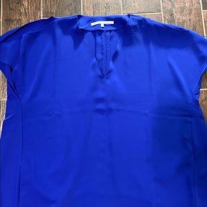 Royal blue hi-lo cold shoulder dress